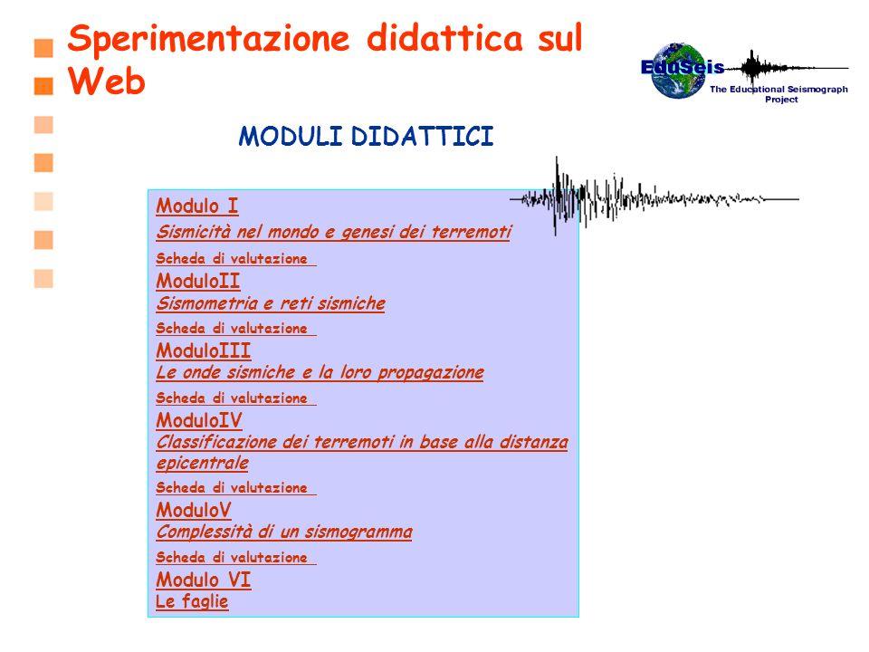 Modulo I Sismicità nel mondo e genesi dei terremoti Scheda di valutazione Scheda di valutazione ModuloII Sismometria e reti sismiche Scheda di valutaz
