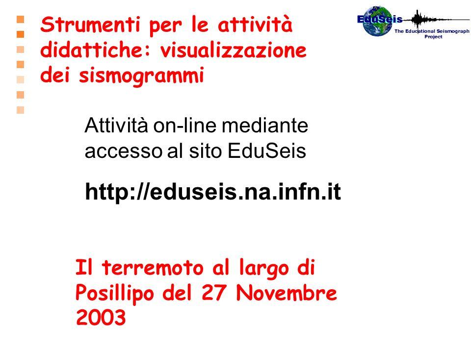 Strumenti per le attività didattiche: visualizzazione dei sismogrammi Il terremoto al largo di Posillipo del 27 Novembre 2003 Attività on-line mediant