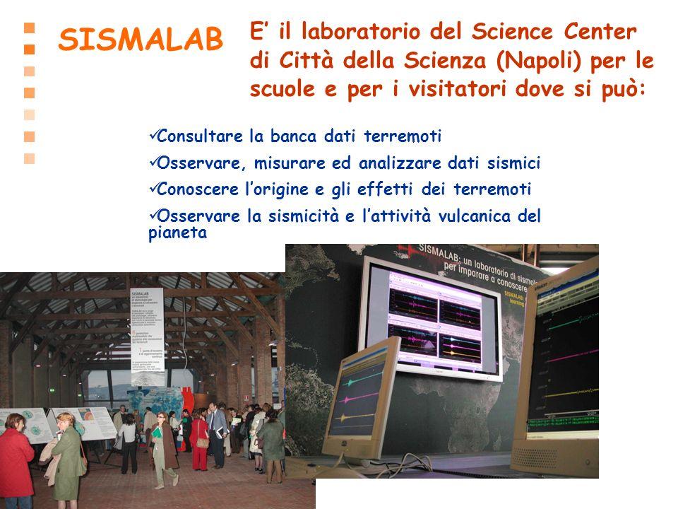 SISMALAB Consultare la banca dati terremoti Osservare, misurare ed analizzare dati sismici Conoscere lorigine e gli effetti dei terremoti Osservare la