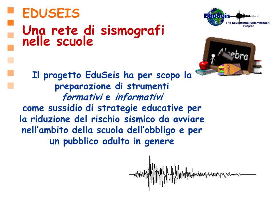 Il progetto EduSeis ha per scopo la preparazione di strumenti formativi e informativi come sussidio di strategie educative per la riduzione del rischi