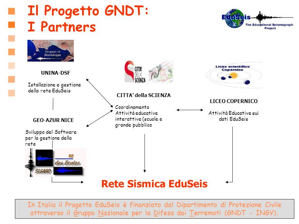 In Italia il Progetto EduSeis è finanziato dal Dipartimento di Protezione Civile attraverso il Gruppo Nazionale per la Difesa dai Terremoti (GNDT - IN