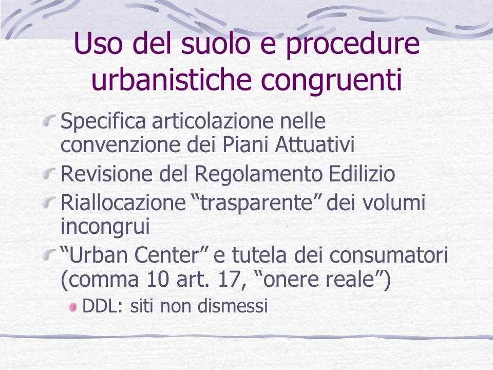 Uso del suolo e procedure urbanistiche congruenti Specifica articolazione nelle convenzione dei Piani Attuativi Revisione del Regolamento Edilizio Ria