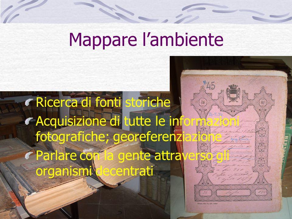 Mappare lambiente Ricerca di fonti storiche Acquisizione di tutte le informazioni fotografiche; georeferenziazione Parlare con la gente attraverso gli
