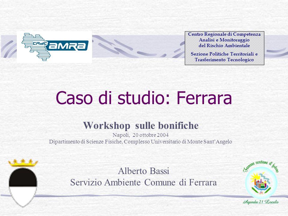Caso di studio: Ferrara Workshop sulle bonifiche Napoli, 20 ottobre 2004 Dipartimento di Scienze Fisiche, Complesso Universitario di Monte SantAngelo