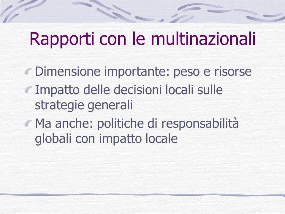 Rapporti con le multinazionali Dimensione importante: peso e risorse Impatto delle decisioni locali sulle strategie generali Ma anche: politiche di re