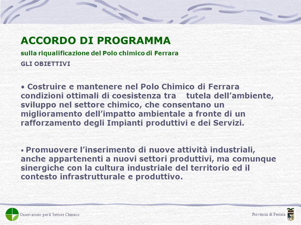 ACCORDO DI PROGRAMMA sulla riqualificazione del Polo chimico di Ferrara GLI OBIETTIVI Costruire e mantenere nel Polo Chimico di Ferrara condizioni ott