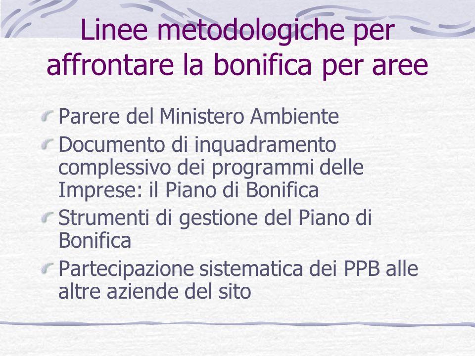 Linee metodologiche per affrontare la bonifica per aree Parere del Ministero Ambiente Documento di inquadramento complessivo dei programmi delle Impre