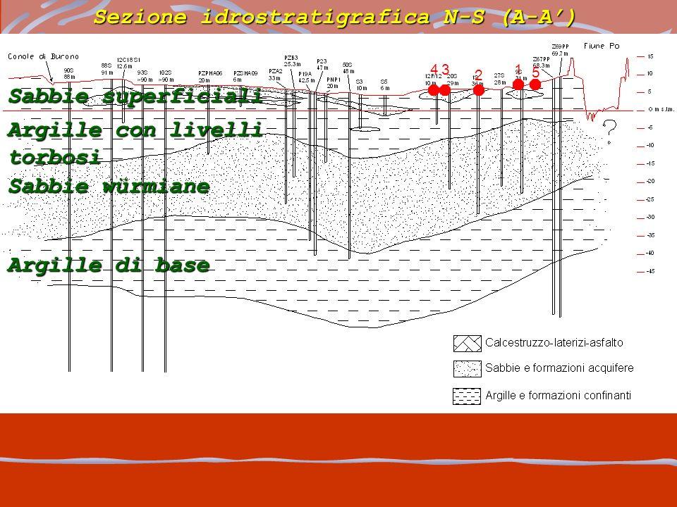 Sezione idrostratigrafica N-S (A-A) Sabbie superficiali Argille con livelli torbosi Sabbie würmiane Argille di base 1 2 34 5