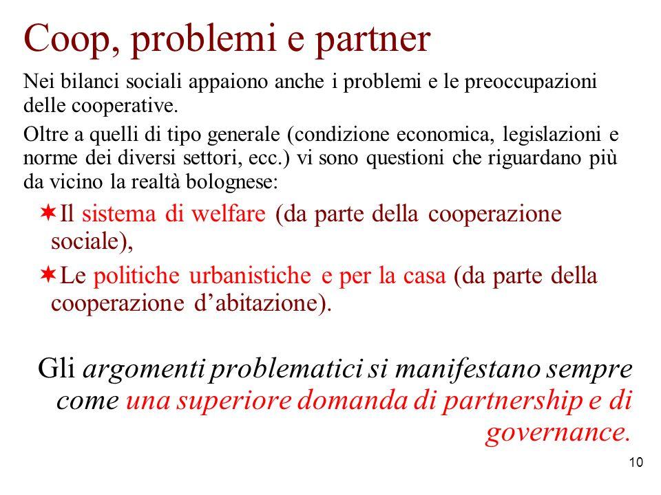 10 Coop, problemi e partner Nei bilanci sociali appaiono anche i problemi e le preoccupazioni delle cooperative.