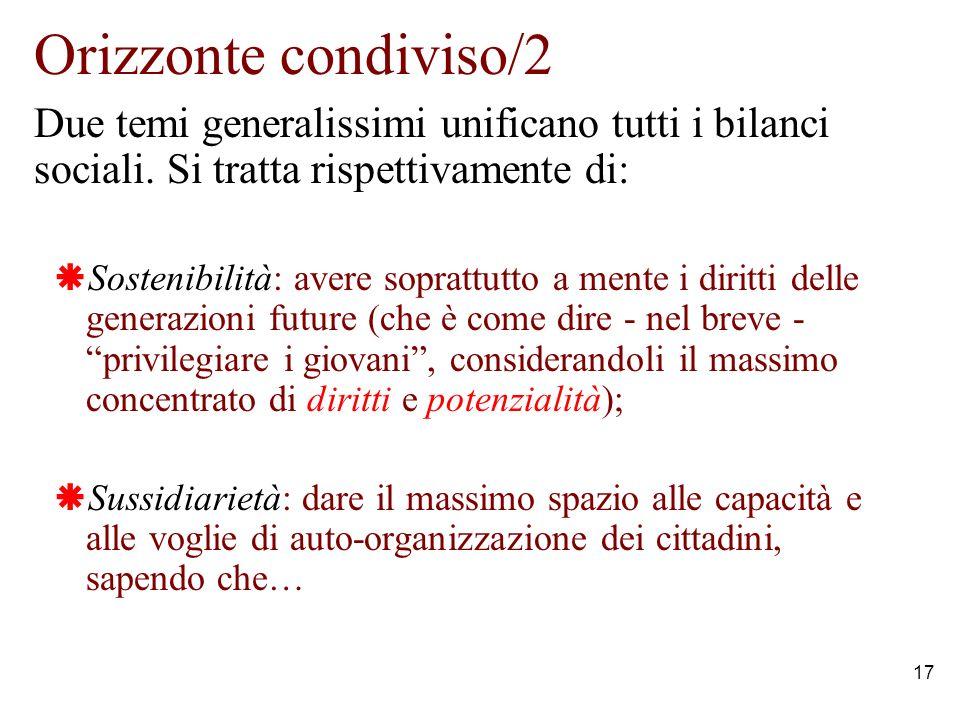 17 Orizzonte condiviso/2 Due temi generalissimi unificano tutti i bilanci sociali.