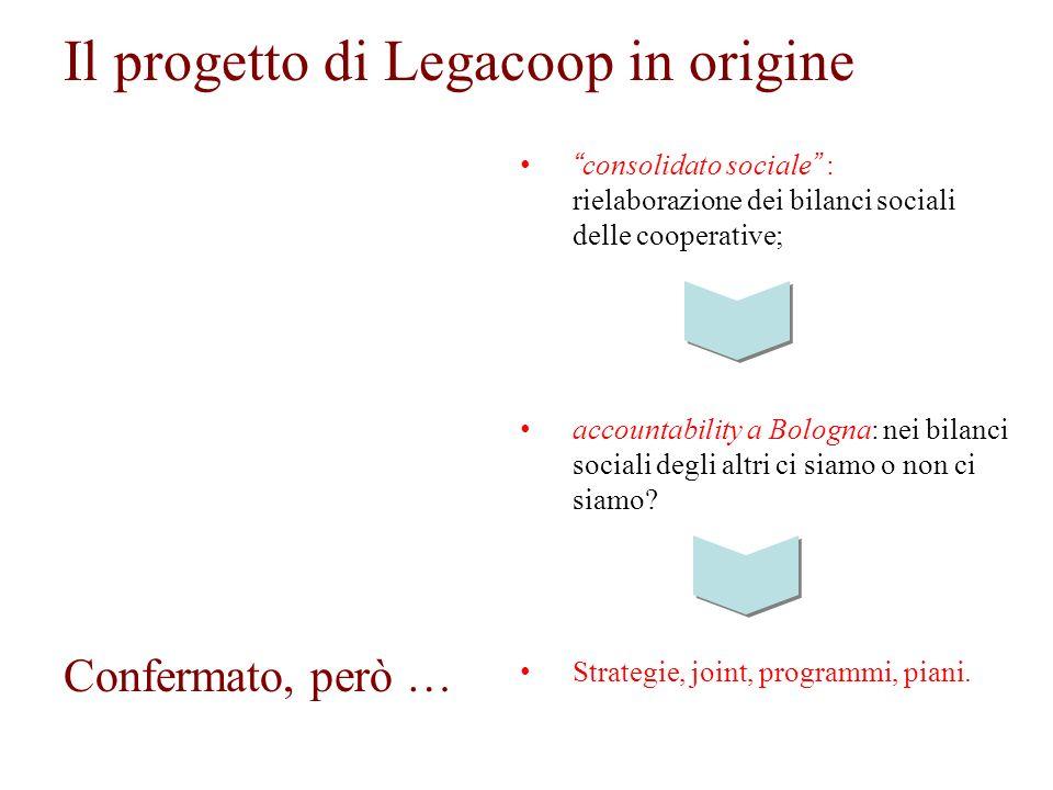 Il progetto di Legacoop in origine consolidato sociale : rielaborazione dei bilanci sociali delle cooperative; accountability a Bologna: nei bilanci sociali degli altri ci siamo o non ci siamo.