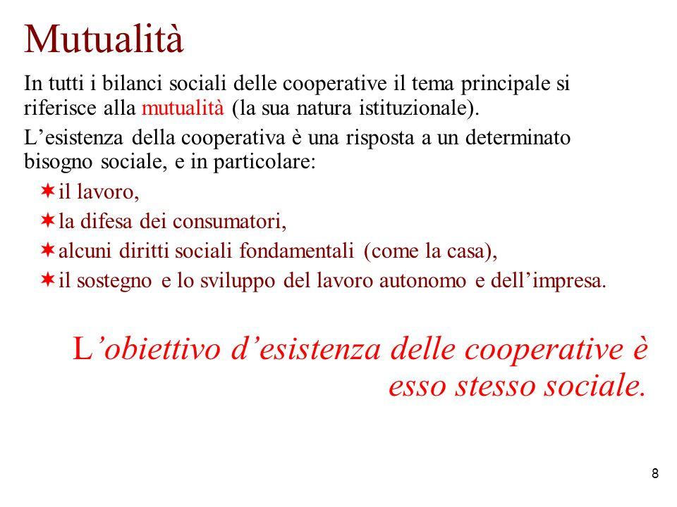 8 Mutualità In tutti i bilanci sociali delle cooperative il tema principale si riferisce alla mutualità (la sua natura istituzionale).