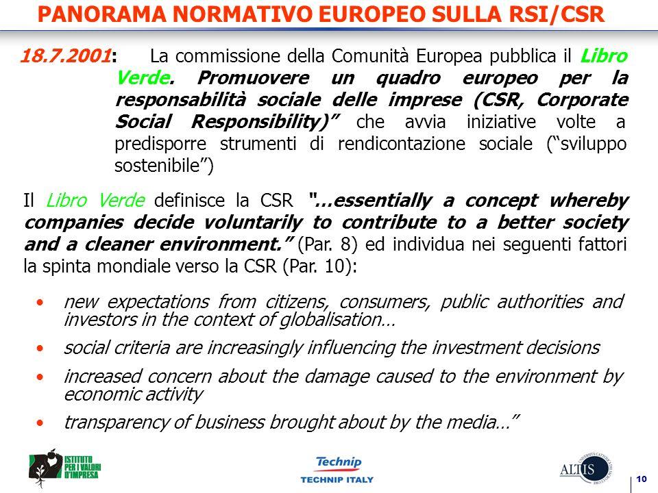 10 PANORAMA NORMATIVO EUROPEO SULLA RSI/CSR 18.7.2001:La commissione della Comunità Europea pubblica il Libro Verde.