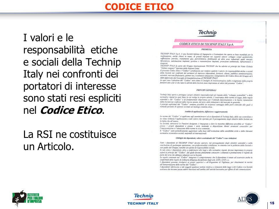 15 CODICE ETICO I valori e le responsabilità etiche e sociali della Technip Italy nei confronti dei portatori di interesse sono stati resi espliciti nel Codice Etico.