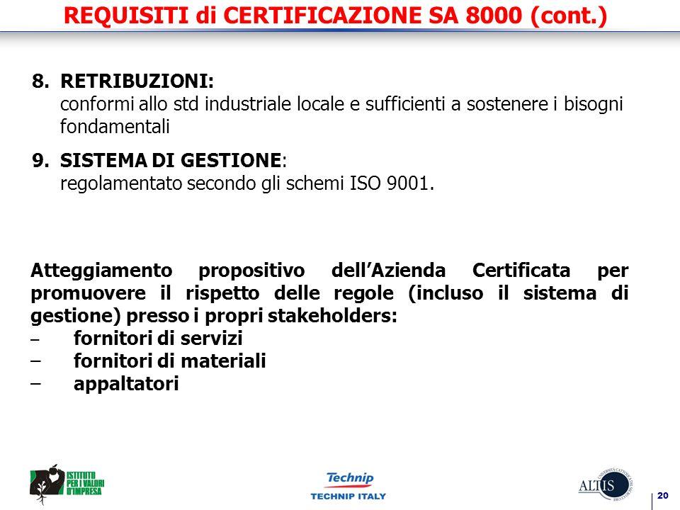 20 REQUISITI di CERTIFICAZIONE SA 8000 (cont.) 8.RETRIBUZIONI: conformi allo std industriale locale e sufficienti a sostenere i bisogni fondamentali 9.SISTEMA DI GESTIONE: regolamentato secondo gli schemi ISO 9001.
