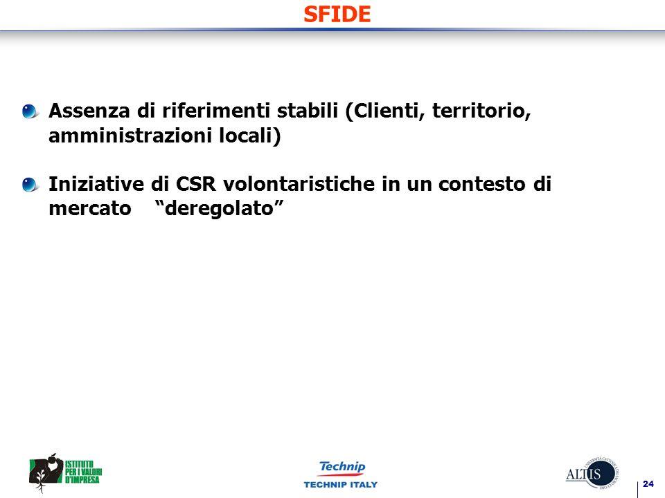 24 SFIDE Assenza di riferimenti stabili (Clienti, territorio, amministrazioni locali) Iniziative di CSR volontaristiche in un contesto di mercato deregolato