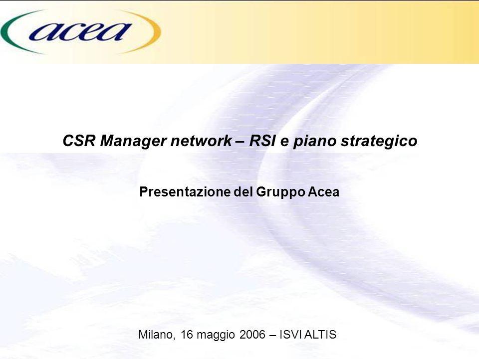 CSR Manager network – RSI e piano strategico Presentazione del Gruppo Acea Milano, 16 maggio 2006 – ISVI ALTIS