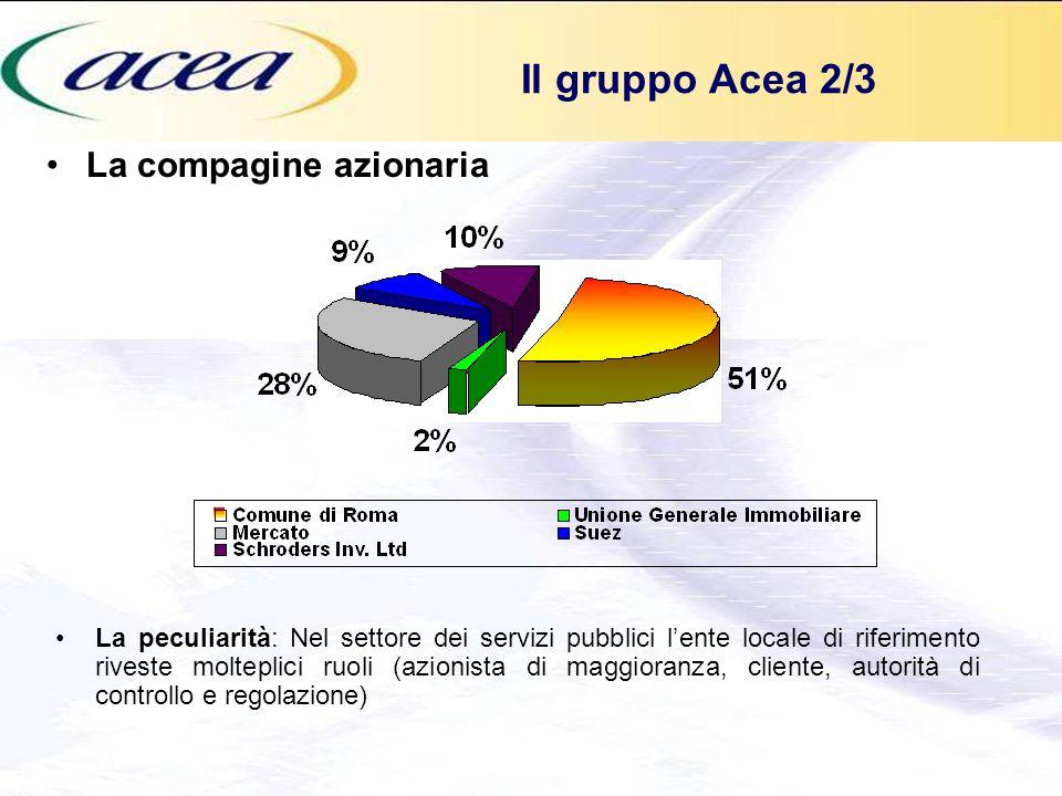 La compagine azionaria Il gruppo Acea 2/3 La peculiarità: Nel settore dei servizi pubblici lente locale di riferimento riveste molteplici ruoli (azion