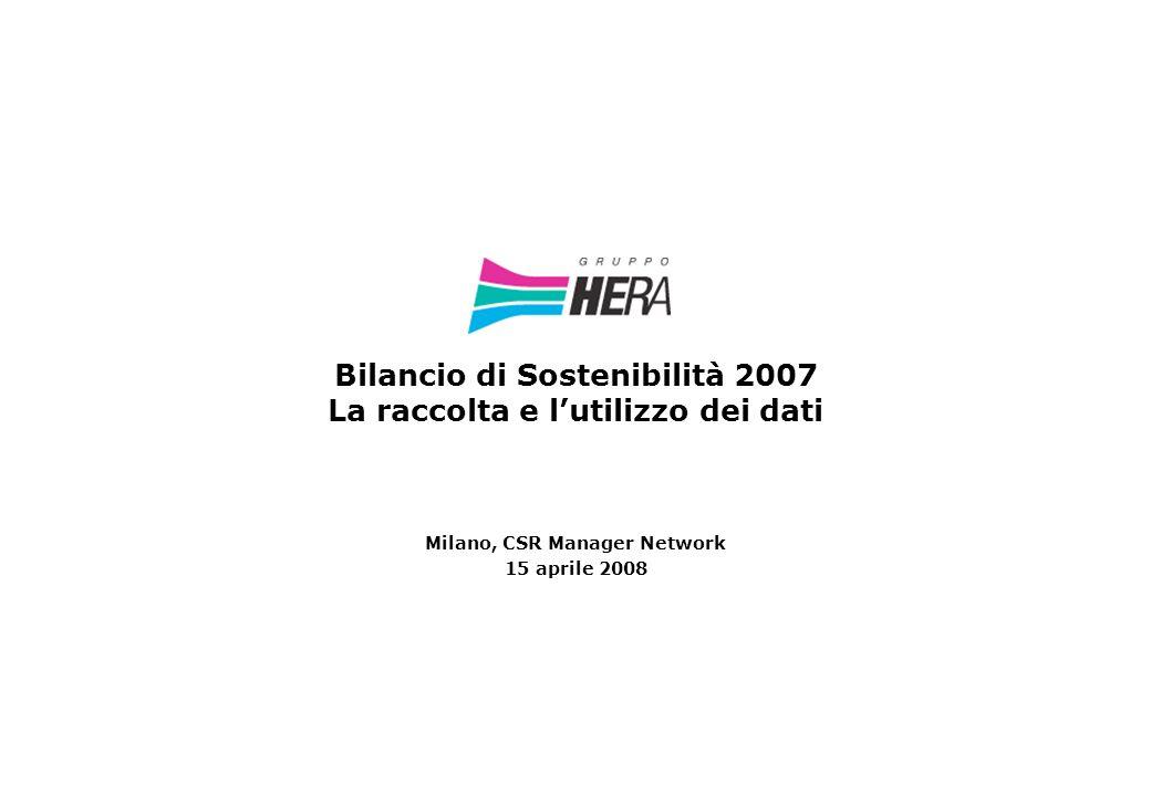 Bilancio di Sostenibilità 2007 La raccolta e lutilizzo dei dati Milano, CSR Manager Network 15 aprile 2008