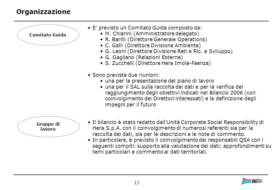 13 Organizzazione Comitato Guida E previsto un Comitato Guida composto da: M.