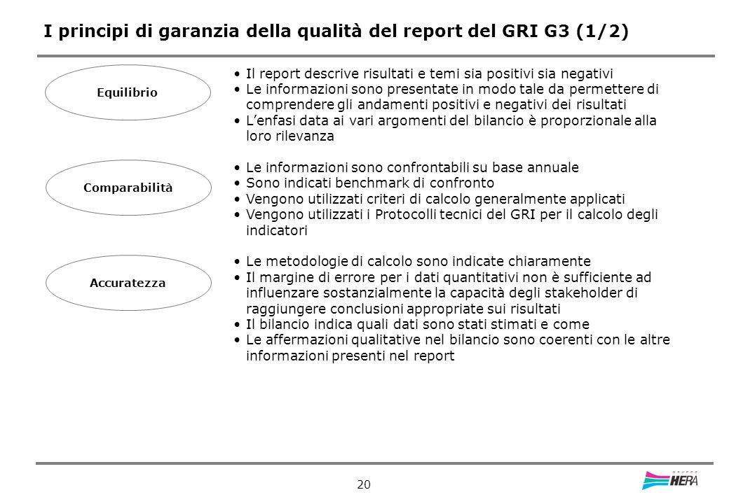 20 I principi di garanzia della qualità del report del GRI G3 (1/2) Equilibrio Il report descrive risultati e temi sia positivi sia negativi Le informazioni sono presentate in modo tale da permettere di comprendere gli andamenti positivi e negativi dei risultati Lenfasi data ai vari argomenti del bilancio è proporzionale alla loro rilevanza Le informazioni sono confrontabili su base annuale Sono indicati benchmark di confronto Vengono utilizzati criteri di calcolo generalmente applicati Vengono utilizzati i Protocolli tecnici del GRI per il calcolo degli indicatori Le metodologie di calcolo sono indicate chiaramente Il margine di errore per i dati quantitativi non è sufficiente ad influenzare sostanzialmente la capacità degli stakeholder di raggiungere conclusioni appropriate sui risultati Il bilancio indica quali dati sono stati stimati e come Le affermazioni qualitative nel bilancio sono coerenti con le altre informazioni presenti nel report Comparabilità Accuratezza
