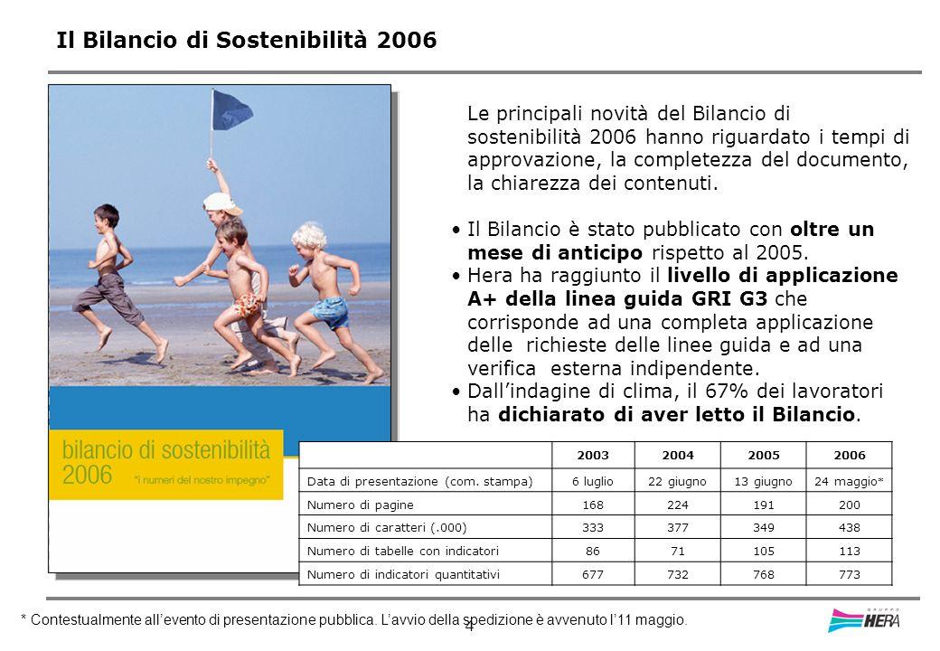 4 Il Bilancio di Sostenibilità 2006 Le principali novità del Bilancio di sostenibilità 2006 hanno riguardato i tempi di approvazione, la completezza del documento, la chiarezza dei contenuti.