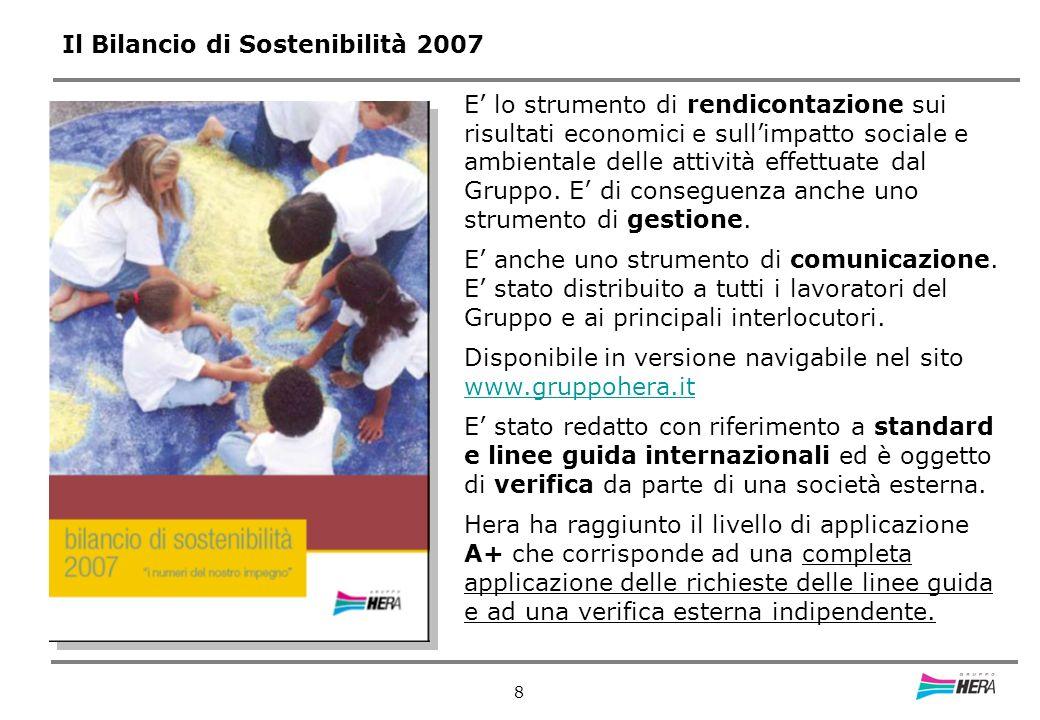 8 Il Bilancio di Sostenibilità 2007 E lo strumento di rendicontazione sui risultati economici e sullimpatto sociale e ambientale delle attività effettuate dal Gruppo.