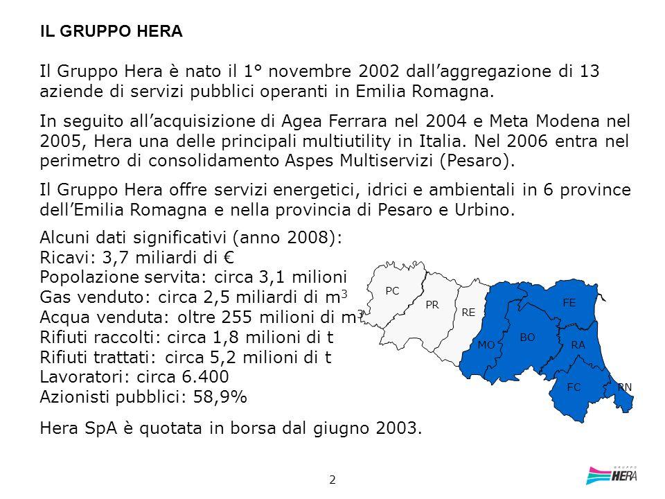 2 IL GRUPPO HERA PC PR RE MO BO FE RA FC RN Il Gruppo Hera è nato il 1° novembre 2002 dallaggregazione di 13 aziende di servizi pubblici operanti in E