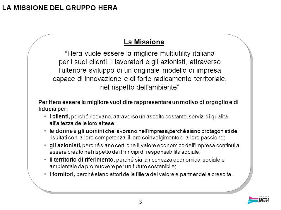 3 LA MISSIONE DEL GRUPPO HERA Hera vuole essere la migliore multiutility italiana per i suoi clienti, i lavoratori e gli azionisti, attraverso lulteri