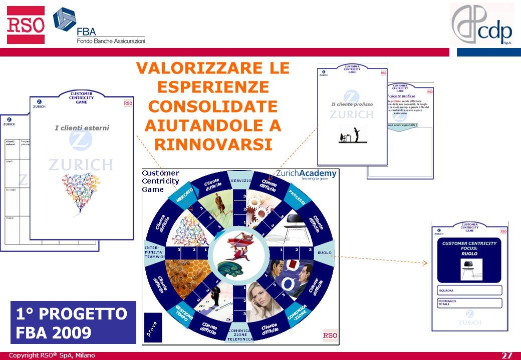 Copyright RSO ® SpA, Milano 27 VALORIZZARE LE ESPERIENZE CONSOLIDATE AIUTANDOLE A RINNOVARSI 1° PROGETTO FBA 2009