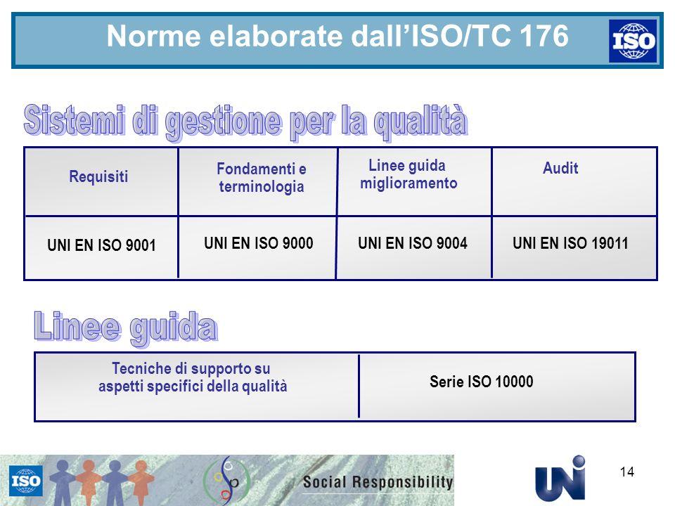 14 Norme elaborate dallISO/TC 176 Requisiti Linee guida miglioramento Fondamenti e terminologia Audit UNI EN ISO 9001 UNI EN ISO 9000 UNI EN ISO 9004 UNI EN ISO 19011 Tecniche di supporto su aspetti specifici della qualità Serie ISO 10000