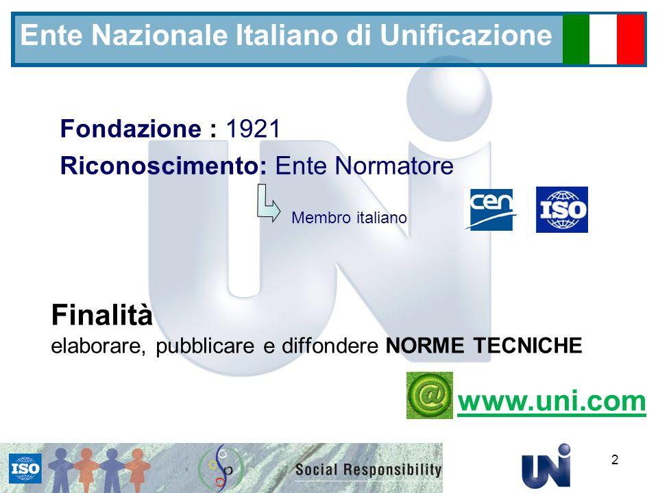 2 Ente Nazionale Italiano di Unificazione Finalità elaborare, pubblicare e diffondere NORME TECNICHE Fondazione : 1921 Riconoscimento: Ente Normatore Membro italiano www.uni.com
