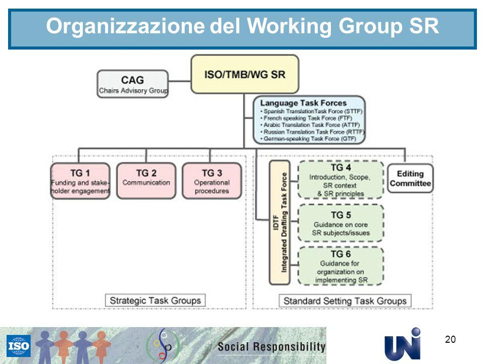 20 Organizzazione del Working Group SR
