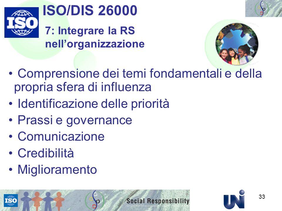 Comprensione dei temi fondamentali e della propria sfera di influenza Identificazione delle priorità Prassi e governance Comunicazione Credibilità Miglioramento ISO/DIS 26000 7: Integrare la RS nellorganizzazione 33