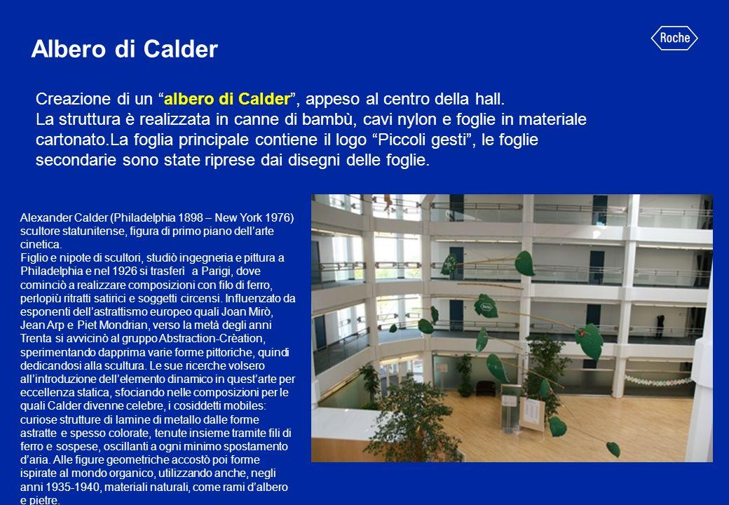 Creazione di un albero di Calder, appeso al centro della hall. La struttura è realizzata in canne di bambù, cavi nylon e foglie in materiale cartonato