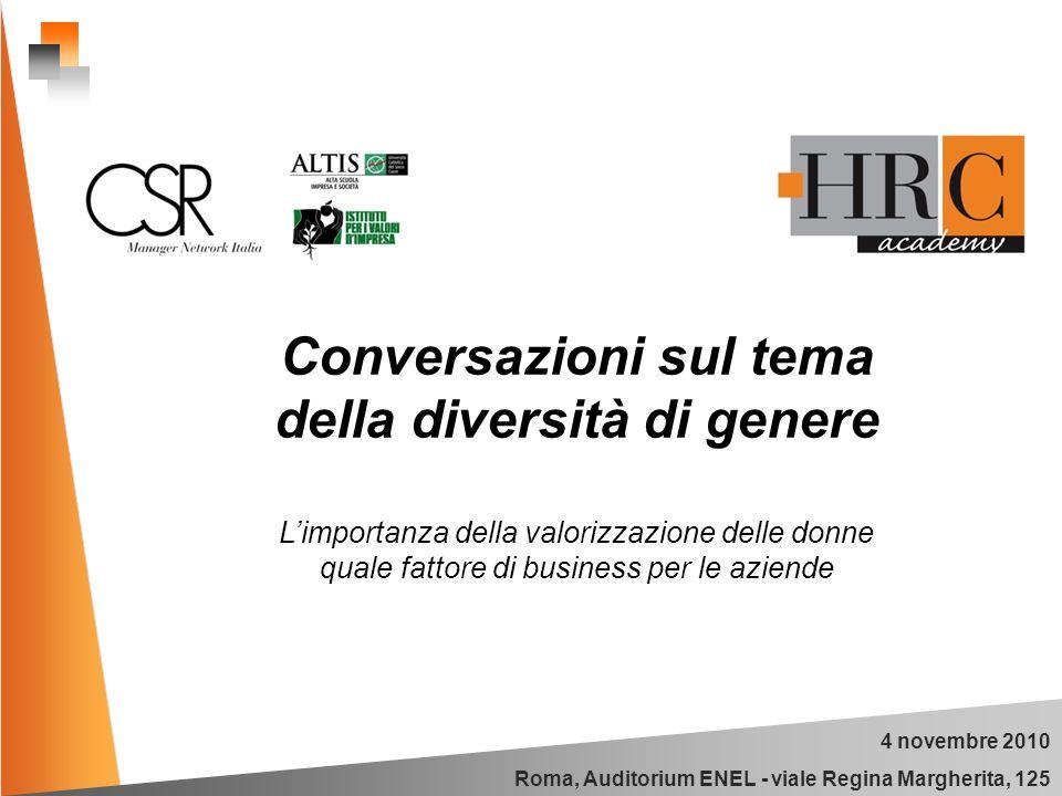 4 novembre 2010 Roma, Auditorium ENEL - viale Regina Margherita, 125 Conversazioni sul tema della diversità di genere Limportanza della valorizzazione delle donne quale fattore di business per le aziende