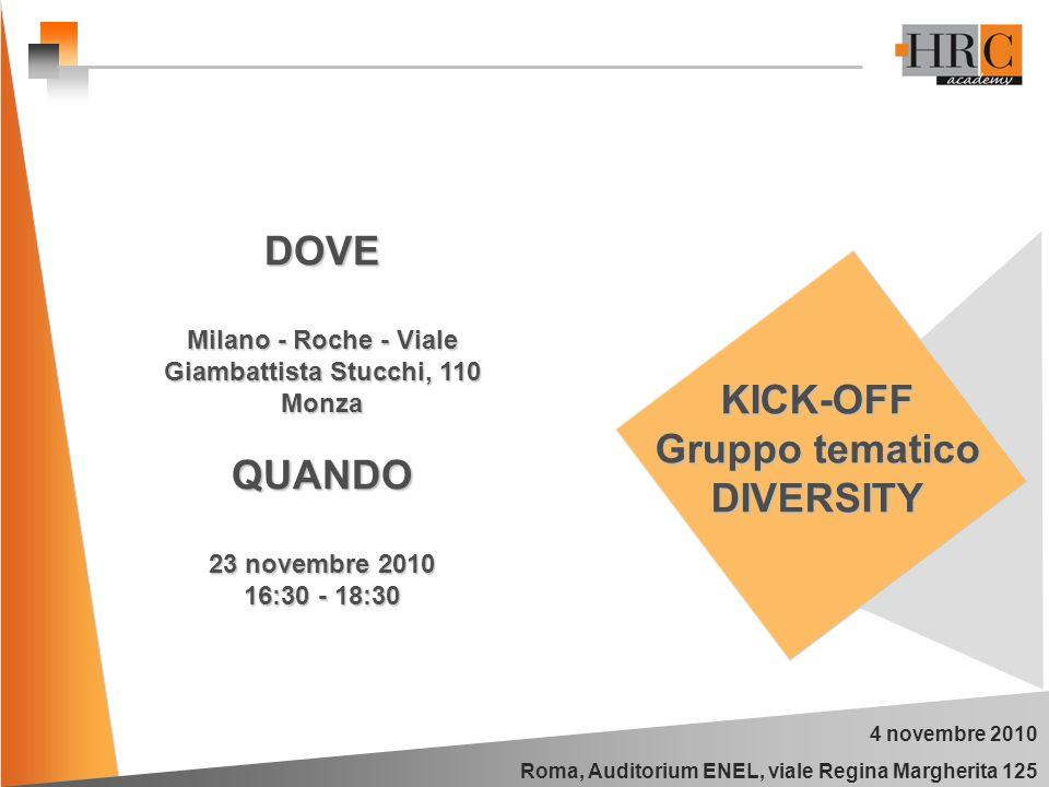 4 novembre 2010 Roma, Auditorium ENEL, viale Regina Margherita 125 KICK-OFF Gruppo tematico DIVERSITY DOVE Milano - Roche - Viale Giambattista Stucchi, 110 Monza QUANDO 23 novembre 2010 16:30 - 18:30