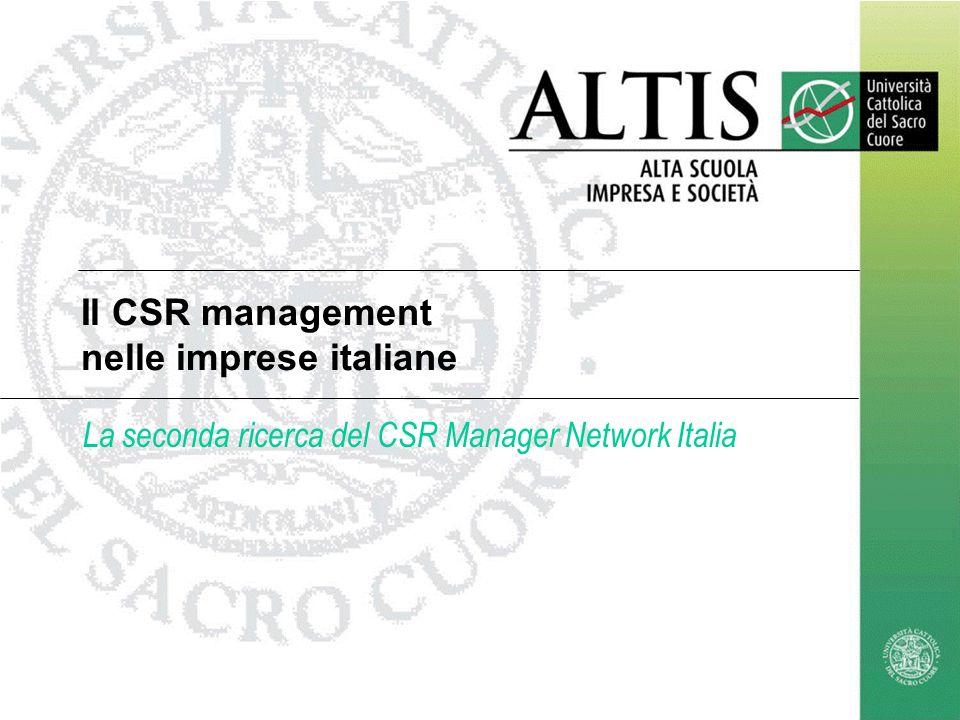 Il CSR management nelle imprese italiane La seconda ricerca del CSR Manager Network Italia