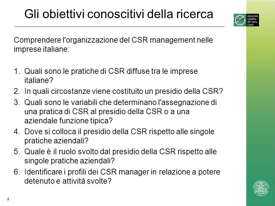Gli obiettivi conoscitivi della ricerca Comprendere l organizzazione del CSR management nelle imprese italiane: 1.Quali sono le pratiche di CSR diffuse tra le imprese italiane.