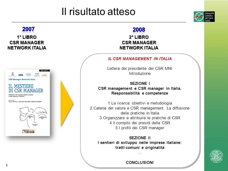 Il risultato atteso 5 2° LIBRO CSR MANAGER NETWORK ITALIA 1° LIBRO CSR MANAGER NETWORK ITALIA IL CSR MANAGEMENT IN ITALIA Lettera del presidente del CSR MNI Introduzione SEZIONE I CSR management e CSR manager in Italia.