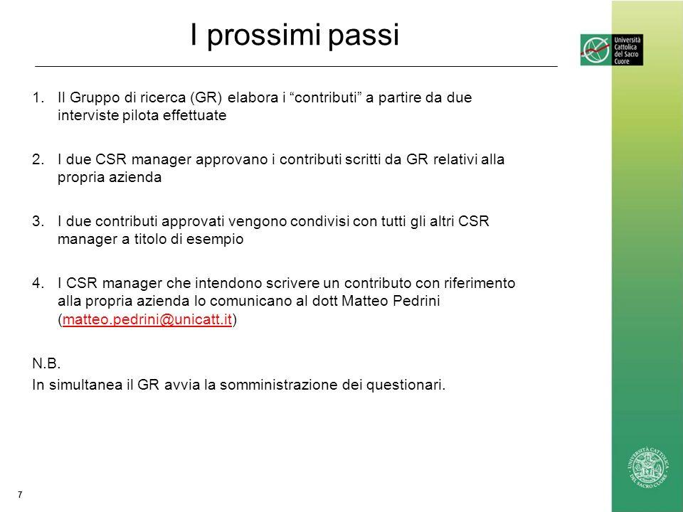 I prossimi passi 1.Il Gruppo di ricerca (GR) elabora i contributi a partire da due interviste pilota effettuate 2.I due CSR manager approvano i contri