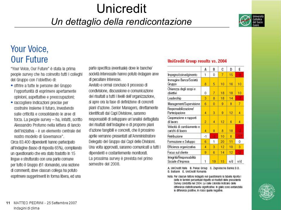 Unicredit Un dettaglio della rendicontazione MATTEO PEDRINI - 25 Settembre 2007 11 Indagini di clima