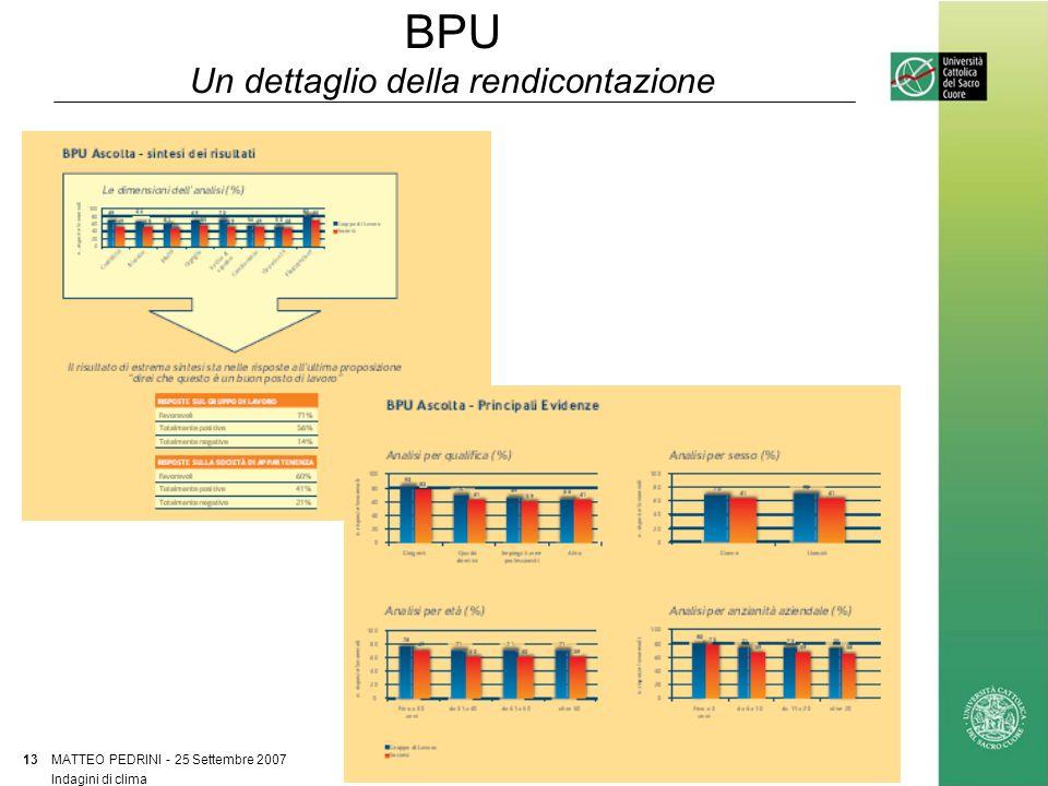 BPU Un dettaglio della rendicontazione MATTEO PEDRINI - 25 Settembre 2007 13 Indagini di clima