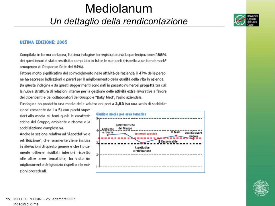 Mediolanum Un dettaglio della rendicontazione MATTEO PEDRINI - 25 Settembre 2007 15 Indagini di clima