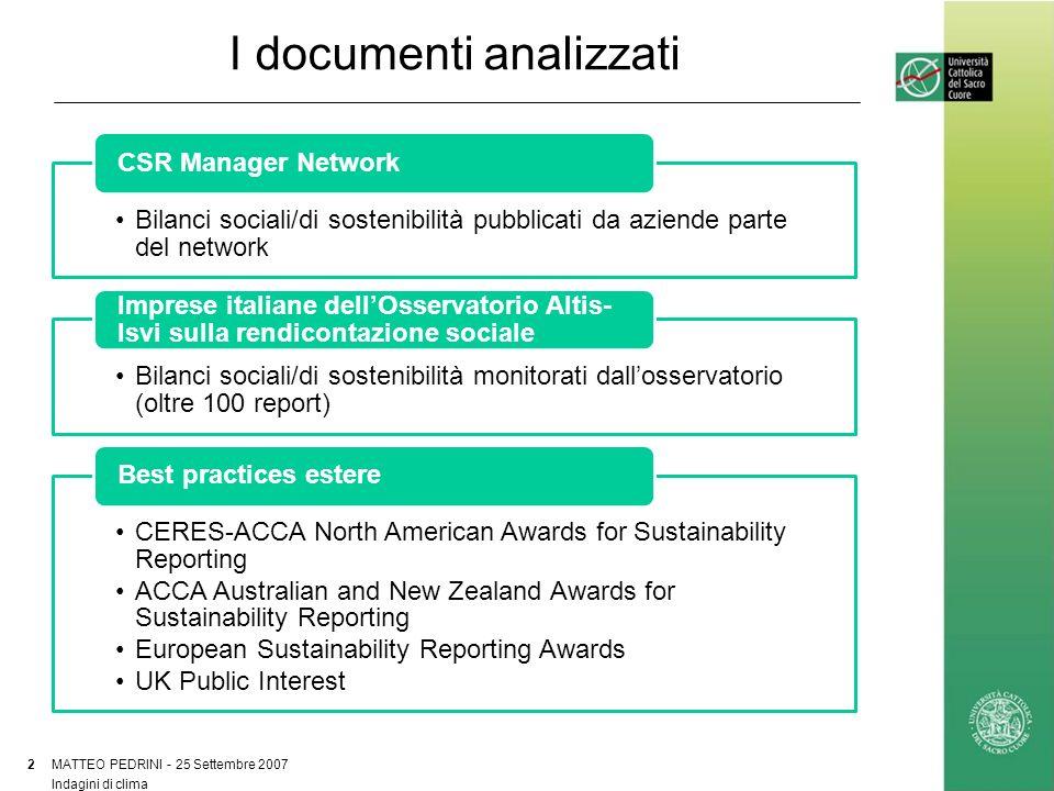 I documenti analizzati MATTEO PEDRINI - 25 Settembre 2007 2 Indagini di clima Bilanci sociali/di sostenibilità pubblicati da aziende parte del network