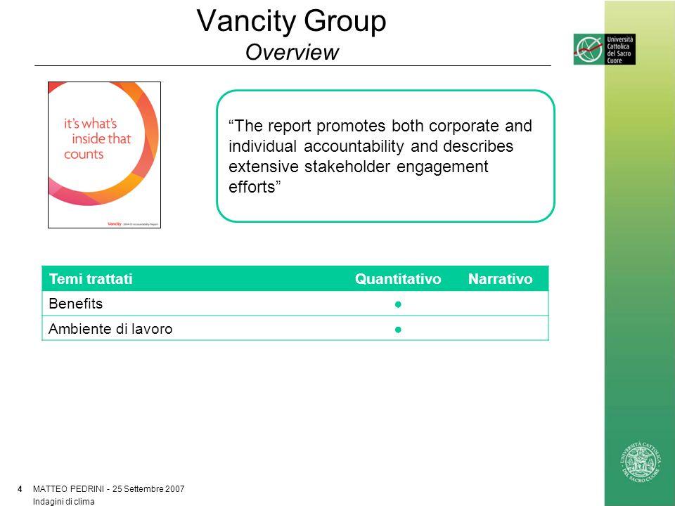 Vancity Group Un dettaglio della rendicontazione MATTEO PEDRINI - 25 Settembre 2007 5 Indagini di clima