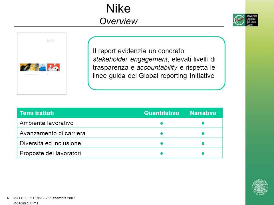 Nike Overview MATTEO PEDRINI - 25 Settembre 2007 6 Indagini di clima Il report evidenzia un concreto stakeholder engagement, elevati livelli di traspa