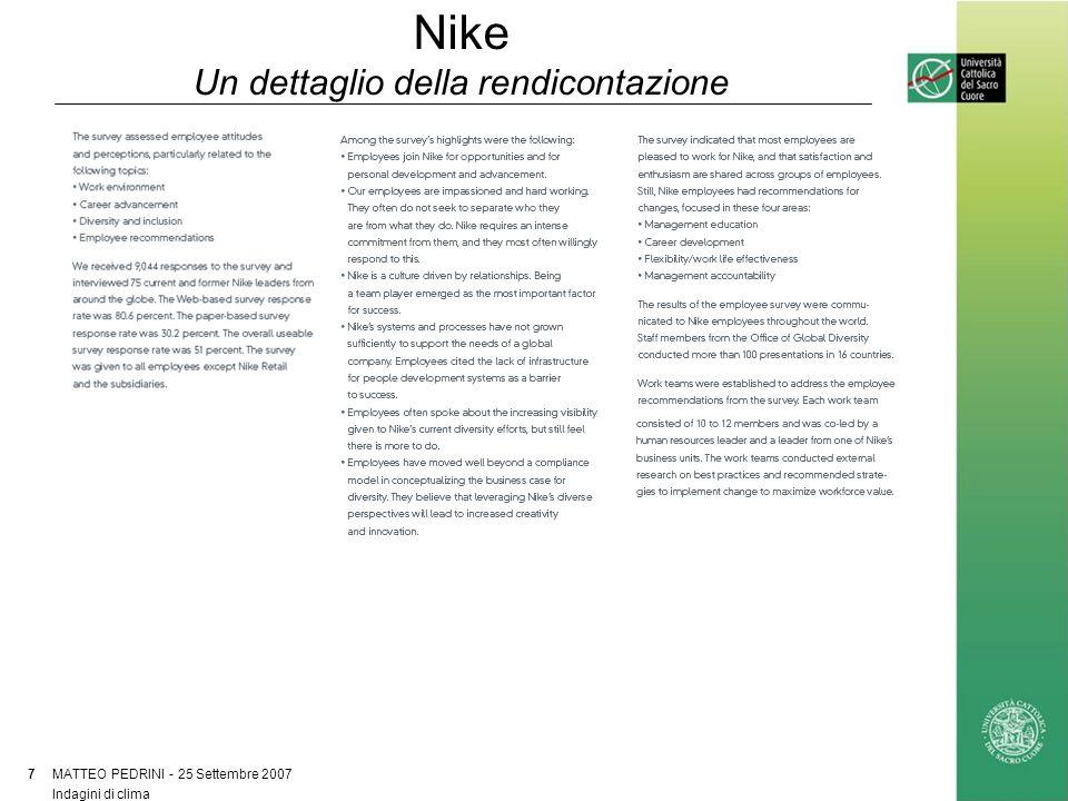 Nike Un dettaglio della rendicontazione MATTEO PEDRINI - 25 Settembre 2007 7 Indagini di clima