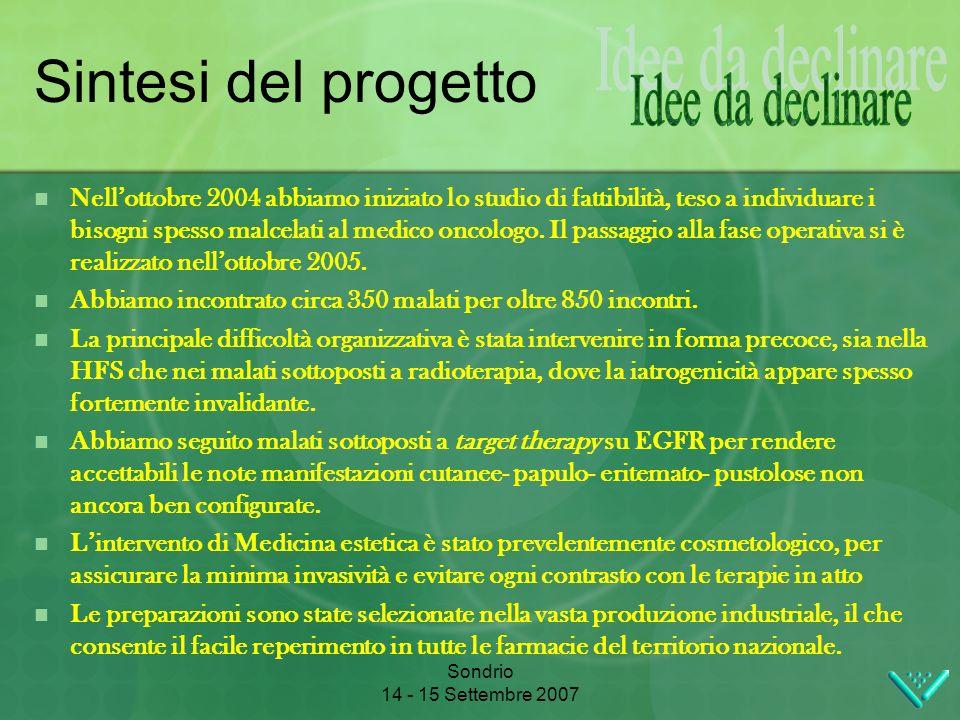 Sondrio 14 - 15 Settembre 2007 Sintesi del progetto Nellottobre 2004 abbiamo iniziato lo studio di fattibilità, teso a individuare i bisogni spesso malcelati al medico oncologo.