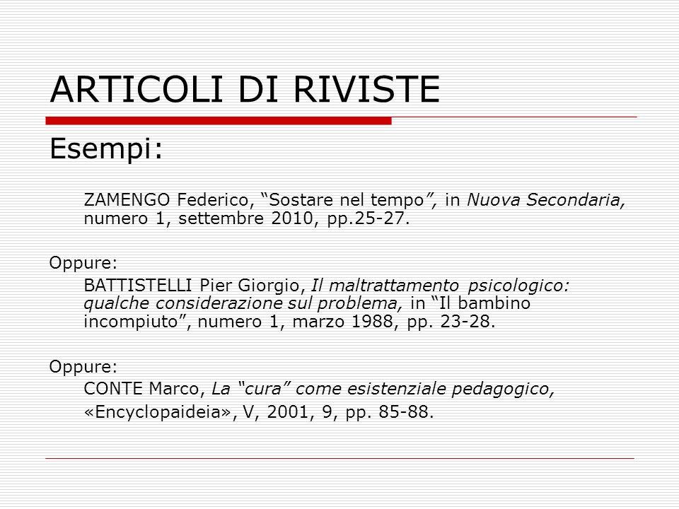 ARTICOLI DI RIVISTE Esempi: ZAMENGO Federico, Sostare nel tempo, in Nuova Secondaria, numero 1, settembre 2010, pp.25-27. Oppure: BATTISTELLI Pier Gio